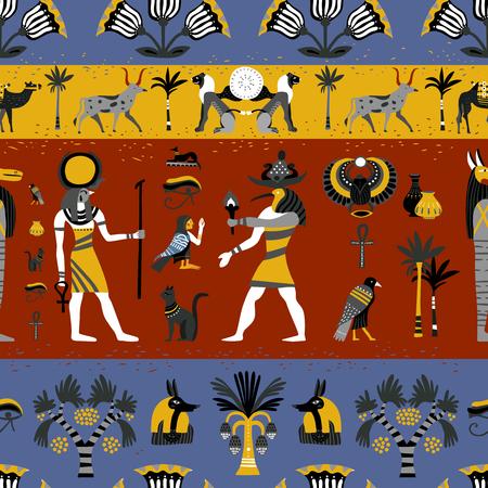 Padrão sem emenda da antiga religião egípcia com deuses, símbolos hieroglíficos, decoração floral na ilustração vetorial de fundo colorido
