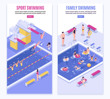 Isometric swimming pool vertical banners set with images of pool swimmers text and read more button vector illustration