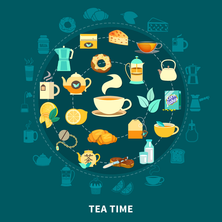 Tea time round composition with hot drink, cups, teapots, milk, pastry on dark blue background vector illustration