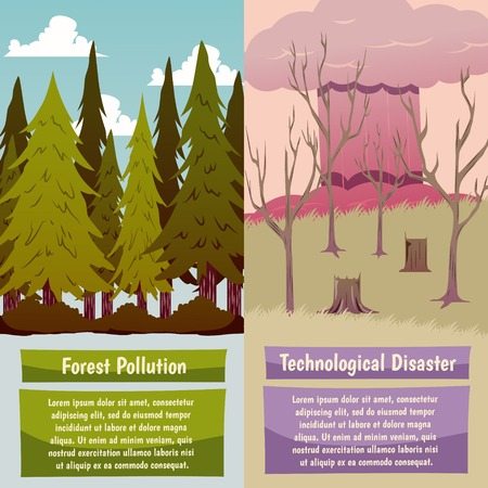 Man-made disasters 2 vertical orthogonal banners set with forest pollution and technological hazard isolated vector illustration Stock Vector - 90263126
