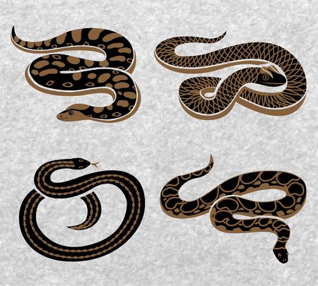 De zwarte slangenreeks reptielen met diverse ornamenten op geweven grijze achtergrond isoleerde vectorillustratie Stock Illustratie