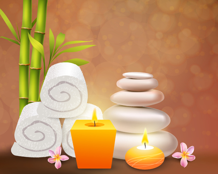 Spa realistic design concept with yellow aroma candles white towels and stones frangipani pink flowers and  green bamboo stems vector illustration Illustration