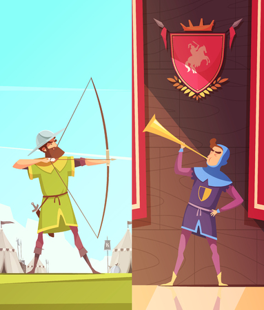Medieval vertical cartoon banners set with horn blower under coats of arms and archer isolated vector illustration