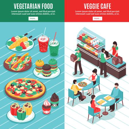 Bannières verticales verticales avec des icônes de bol isométrique composition de dessert dessert et des ustensiles de cuisine de légumes illustration vectorielle Banque d'images - 90263199