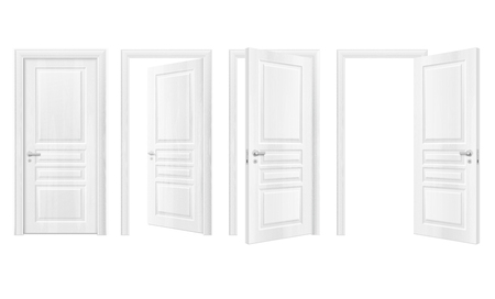 Four isolated wooden doors realistic icon set open and closed in white colors vector illustration Illustration