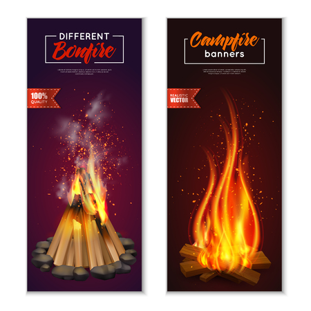 Campfire banners collection with images of fire chock with smoke on ambient background with editable text vector illustration