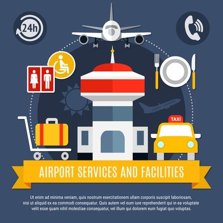 空港サービス、設備フラット空気旅行広告ポスター トラフィック コントロール タワー タクシー荷物ベクトル イラスト  イラスト・ベクター素材
