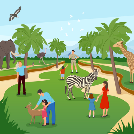 Zoo cartoon background with tropical animals and people visiting and photographing flat vector illustration Illustration