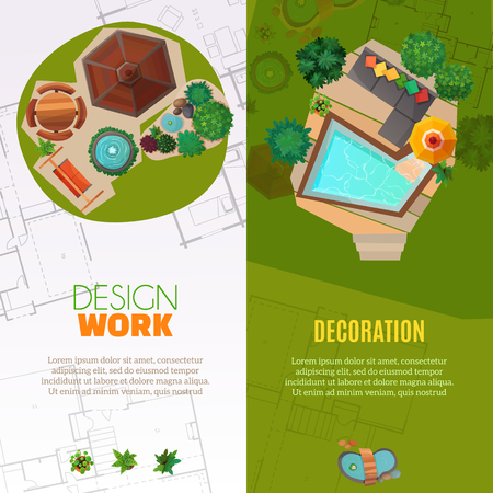 Set of vertical banners top view with design work and landscape decoration isolated vector illustration Illustration