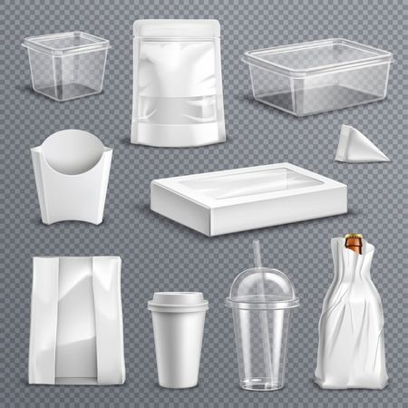 Fastfood empty blank packages realistic templates set with clear plastic coke mug and containers transparent background vector illustration 向量圖像