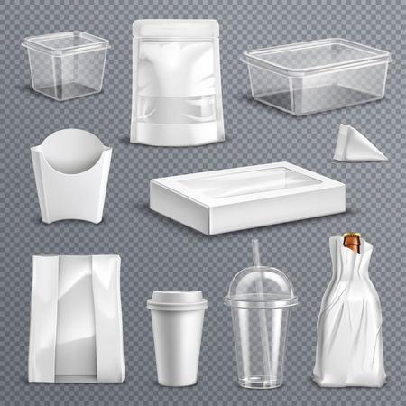 Fastfood lege lege pakketten realistische sjablonen die met duidelijke plastic cokesmok en containers transparante vectorillustratie worden geplaatst als achtergrond Stock Illustratie