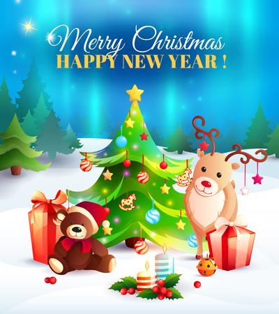 新年挨拶、動物、贈り物、クリスマス ツリーと極光背景漫画組成、吹きだまりのベクトル イラスト