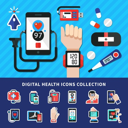 Digital health flat banner icons collection with medical electronic mobile wearable personal diagnostic devices symbols vector illustration