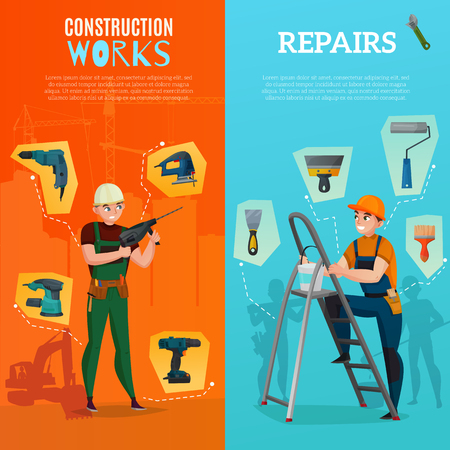 Set of vertical banners with workers and building tools for construction site and repairs isolated vector illustration