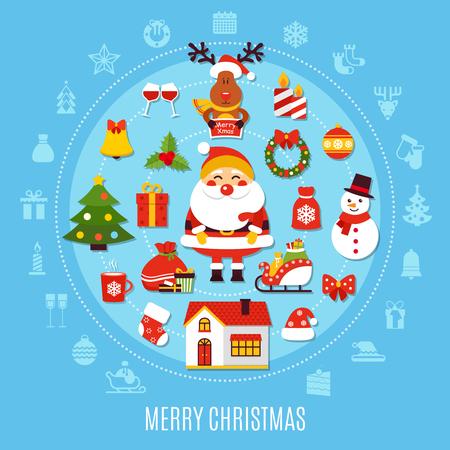 파란색 배경 벡터 일러스트 레이 션에 산타, 눈사람, 사슴, 크리스마스 트리, 집, 휴일 장식으로 크리스마스 라운드 조성 일러스트