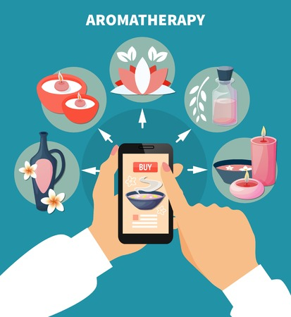 Spa aromatherapy online menu flat advertisement poster with smartphone touch screen and index finger choosing product vector illustration