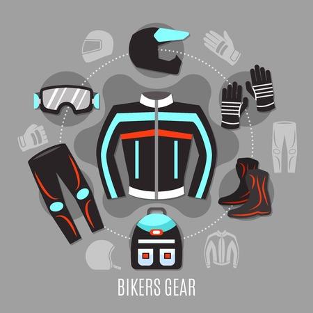 サークル デザイン ベクトル イラストのバイカーの服やアクセサリーのアイコンのセットを持つオートバイのギアのフラット コンセプト