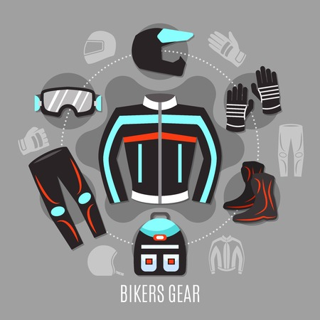 Motorcycle gear flat concept with set of biker clothes and accessories icons in circle design vector illustration