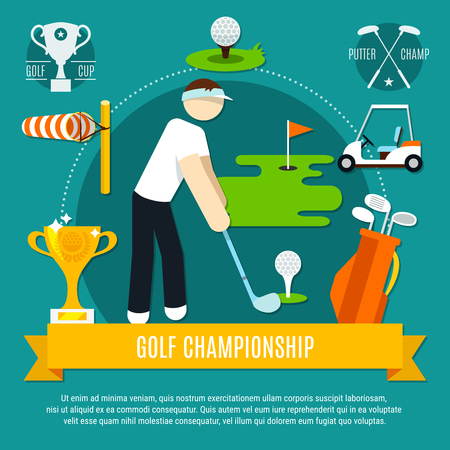 Golf competition flat composition with player, game equipment, wind cone, yellow ribbon on blue background vector illustration