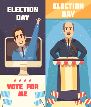 Politics election campaigning 2 cartoon vertical banners set with racing for president candidate speech isolated vector illustration