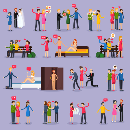 Love triangle set of orthogonal icons with people in various situations on lilac background isolated vector illustration