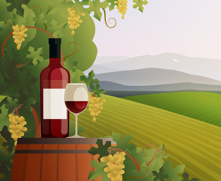 Wine and vineyard concept with mountains and hills gradient flat vector illustration