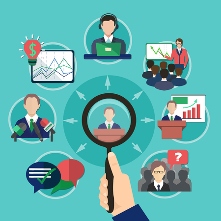 Business meeting concept with human hand holding magnifying lens and flat images with pictograms and thought bubbles vector illustration