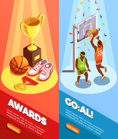 Set of two vertical basketball isometric banners with triumph images editable text and read more button vector illustration