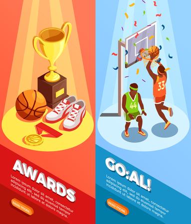Set van twee verticale basketbal isometrische banners met triomf afbeeldingen bewerkbare tekst en lees meer knop vectorillustratie Stock Illustratie