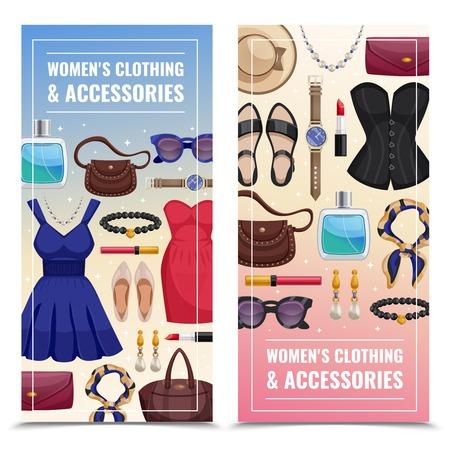 L'insegna verticale di due donne colorate degli accessori ha messo con l'abbigliamento delle donne e gli accessori vector l'illustrazione Archivio Fotografico - 90263263