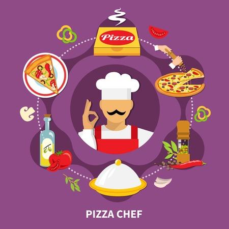 Pizza chef image avec des images de pizza de la pizza des morceaux de pizza morceaux de tranches de pain et de cuisinier gâteau illustration vectorielle Banque d'images - 90263264