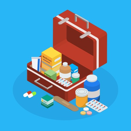 医薬品製造薬パッケージの丸薬錠剤混合物ポーション カプセル サンプルでスーツケース等尺性背景ベクトル図を開く