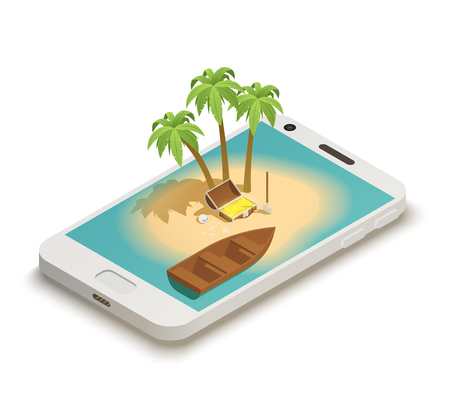 Fairy tale isometric composition on smartphone screen with island boat palms and pirates treasure chest vector illustration Illustration