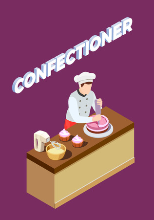 Professional cooking people chef pizzaiolo isometric people composition with human character of candy maker at work vector illustration