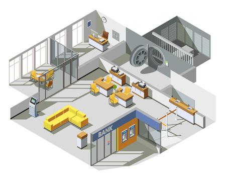 銀行事務所スペース顧客アシスタント デスク現金引き出し機、待機エリアのベクトル図と等角図法インテリア