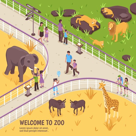 Isometric zoo illustration with outdoor zoological garden scenery fence and images of african animals and people vector illustration
