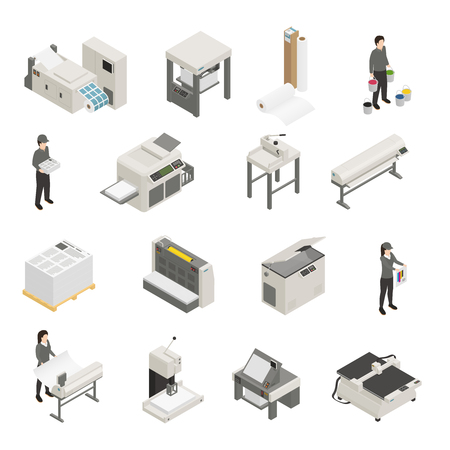 Isometrische Ikonensammlung der Druckhausausrüstung und -personals mit Tintenstrahl-Laser-Siebdruck-Offsetdruckern lokalisierte Vektorillustration