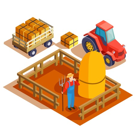 Gardener isometric composition with agrimotor pulling cart and farmer with pitchfork and haymow in fenced area vector illustration