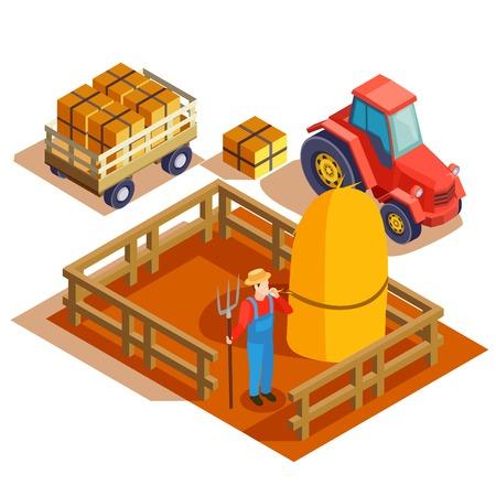 Tuinman isometrische samenstelling met agrimotor trekkende kar en landbouwer met hooivork en haymow in geschermde gebieds vectorillustratie