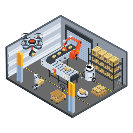 Automatic logistics delivery facility isometric composition with drone conveyor belt and robotic arm sorting parcels vector illustration Vettoriali
