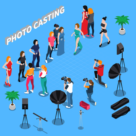 Photo casting isometric composition with girl models, photographers with professional equipment on blue background vector illustration