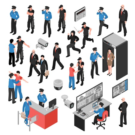 Security system isometric icons set with guards, criminals, personal inspection, video surveillance, access control isolated vector illustration
