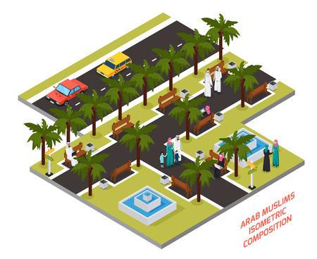 Arabische moslims met familie of vrienden in park met palmen en fonteinen isometrische samenstellings vectorillustratie Stock Illustratie