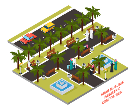 Arab muslims with family or friends in park with palm trees and fountains isometric composition vector illustration