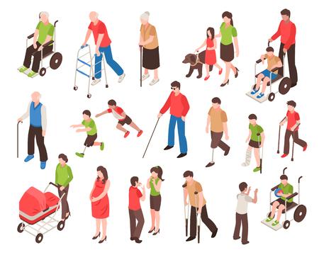 Conjunto isométrico con personas discapacitadas en silla de ruedas, con extremidades prostéticas, personas ciegas y personas mayores aislado ilustración vectorial