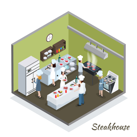Steakhouse professional kitchen interior isometric composition with commercial refrigerator and chefs cutting grilling frying meat vector illustration