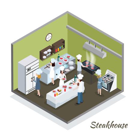 Steakhouse professionele keuken interieur isometrische samenstelling met commerciële koelkast en koks snijden grillen frituren vlees vectorillustratie Stock Illustratie