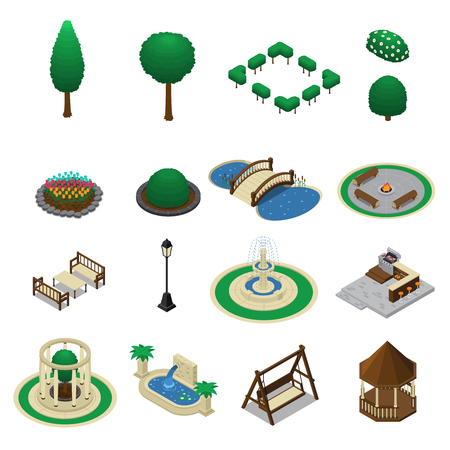 Isometric landscape design constructor elements collection of isolated garden park elements trees benches and shelter shed vector illustration