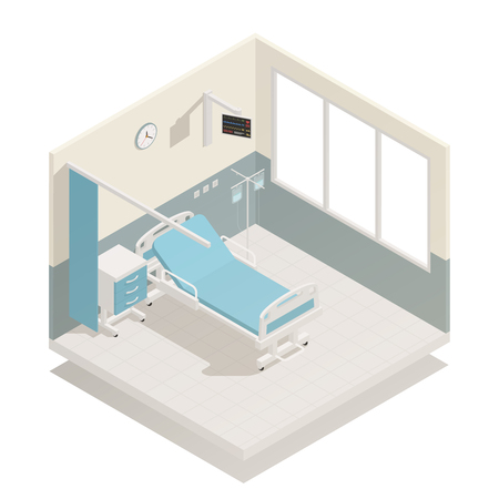 침대 주입 및 커튼 벡터 일러스트 레이 션을 나누어 방 의료 장비 가구 아이소 메트릭 구성으로 병원 병동
