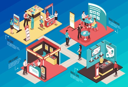 Isometric expo stand exhibition horizontal composition with text and images of different exhibit booths with people vector illustration Иллюстрация